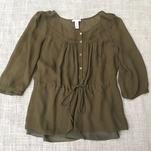 J. Crew Army Green Blouse Size 6
